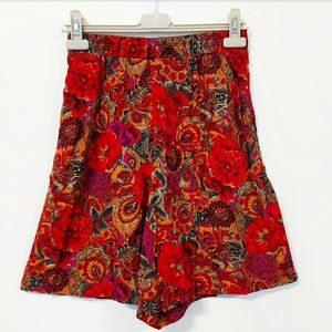Vintage High-Waisted Bold & Colorful Print Shorts